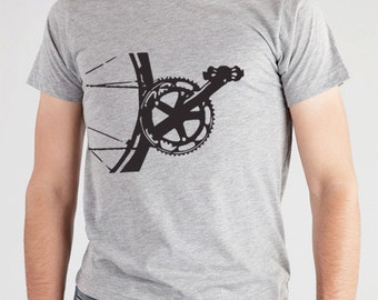 Mens Bicycle TShirt, Bicycle Clothinng For Men, Bicycle Clothing, Unique Bicycle Jersey, T Shirt Bicycle Parts