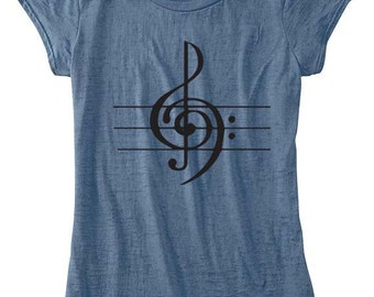 Womens TShirt Musicial Note Womens Clothing Musician Symphony Custom Hand Screen Printed Available: S M L Xl Color Options