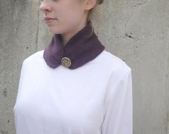 Button Cowl Scarf, Neck Warmer, Hand Knit, Deep Purple - Alpaca & Angora, Sophisticate
