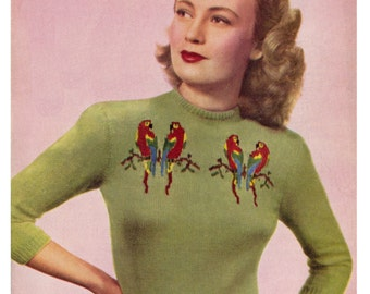 "Vintage 40's Knit ""Love Birds"" Sweater - PDF Pattern - INSTANT DOWNLOAD"
