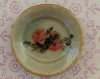 "Dollhouse Miniature ""Peach Melba Rose"" Dishware, Scale One Inch"