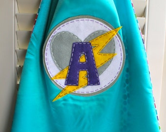 Turquoise Girls Superhero Cape- PERSONALIZE/CUSTOMIZE Letter - Choose the Initial - Superhero Birthday Party