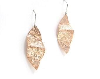 Textured Copper Earrings - Copper Earrings - Copper Leaf Earrings - Printed Copper Earrings - Engraved Copper Earrings - Copper Dangle