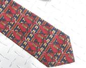 BKool Vintage Roper Silk Necktie, Cowboy Boots on Dark Red, Mens Ties, Excellent Cond.
