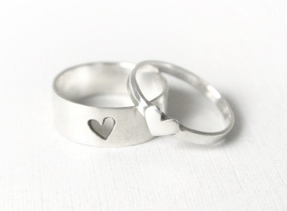 Tiny Heart Couple Rings in Sterling Silver by Lanjewelry // Couple Rings // Couple Promise Ring // Couples Promise Rings // Promise Ring Set
