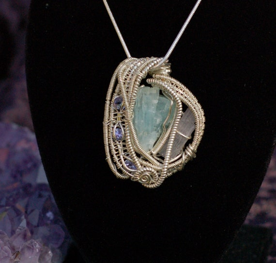 Aquamarine, Tourmaline and Tanzanite Pendant in Sterling Silver / Wire Wrapped Pendant / Rough Gemstone Pendant / Blue and Purple Necklace
