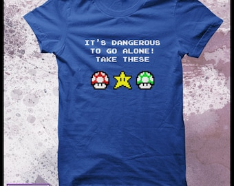 Super Mario t-shirt mens - Legend of zelda shirt -It's dangerous to go alone