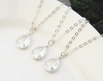 Clear Crystal Necklaces SET OF 3 - 5% OFF Silver Clear Crystal Bridesmaid Necklaces - Silver Glass Pendant Necklace - Bridesmaid Jewelry Set