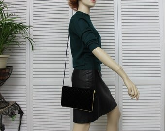 Vintage  Velvet and Gold Evening Cross Body Bag Carolyne Barton
