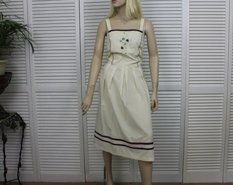 Vintage Pale Yellow Sundress Size M/L Embroidered