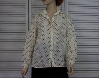 Vintage Ivory Button up Shirt with Black Bubbles Size 12