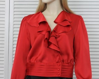 Vintage Red Silky Blouse Size 9 Gelele