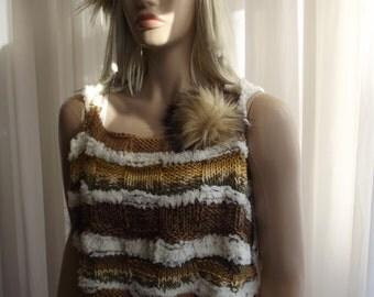 JUST BEAUTIFUL - Hand Knit Shawl / Hand Knit Cowl / Hand Knit Shrug / Cable Knit / Crochet HeadBand  / Multicolor / Pompom / Custom Order