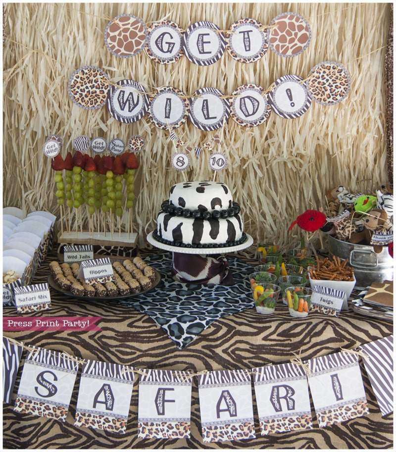 Safari party printables animal prints party supplies and for Animal party decoration