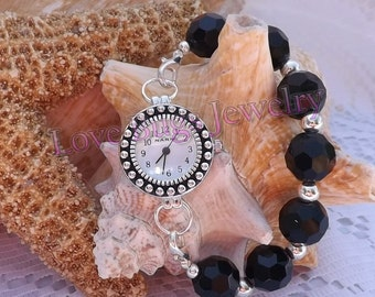 Black Disco  - Interchangeable Watch Band, Black Single Strand Chunky Beaded Interchangeable Watch Band