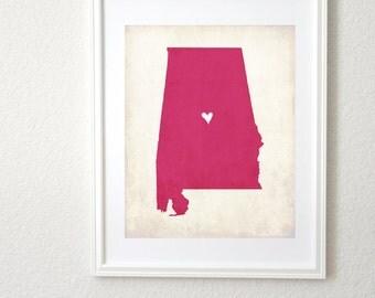 Alabama Love State Map Personalized Art 8x10 Print