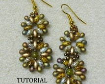 PDF  Beaded Earrings Tutorial, SuperDuo Tutorial, Seed Bead Earrings, Earring Tutorial, Beadwork Tutorial, Seed Bead Earrings Tutorial
