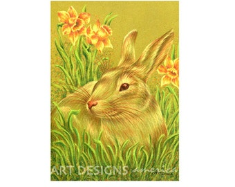 Rabbit in Daffodils, ACEO Art Print, Rabbit Drawing, Animal Art, SFA, Small Format Art, Pastel Art Print, Artist Trading Card, ADA-P353