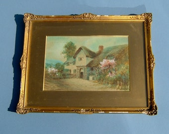 Antique Painting of a Country Cottage Signed W Rex in Original Frame Edwardian Watercolor Vintage Art
