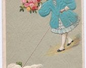 Antique German Embossed Birthday Postcard - Birthday Greetings - Young Lady in a Metalic Aqua Coat Walking Dog - 1909
