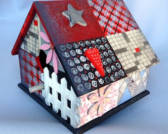 COMEONA MY BIRDHOUSE, an Original Wood, Hand Painted Collectible Birdhouse Celebrating A Variety of Decorative Elements