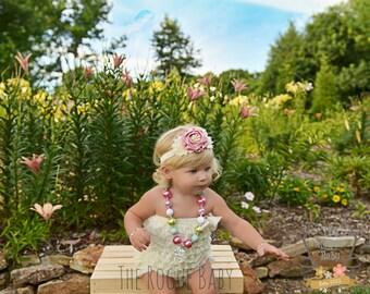 Dusty Pink Rose Satin Rosette Pearl Rhinestone with Cream Chiffon Elastic Headband - Baby Vintage Adult Wedding Flower Girl Rustic Shabby