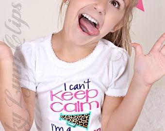 Cheerleader Can't Keep Calm Leopard Print Embroidered Applique Cap Sleeve Shirt