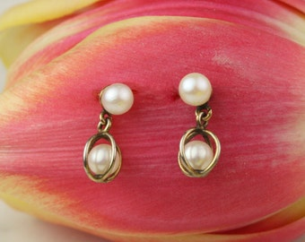 Vintage 12k Gold Pearl Stud Drop Earrings