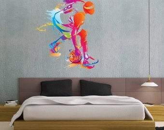 Colorful Basketball Player Color People Sports - Full Color Wall Decal Vinyl Decor Art Sticker Removable Mural Modern B219