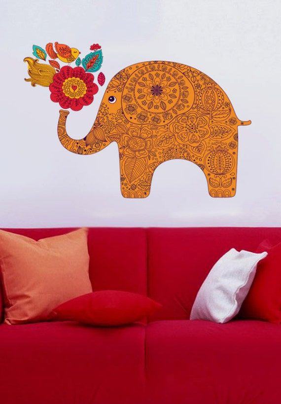 Colorful Elephant 2 Color Animals Full Color Wall Decal: colorful elephant home decor