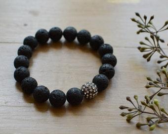 Black Lava Gemstone Bracelet // Crystal Gunmetal Pave Bead // Stretch Bracelet // Bracelet Stack
