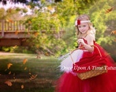 Little Red Riding Hood Tutu Dress - Red and White Pageant Gown - Halloween Costume - Girls Size 12M 2T 3T 4T 5T 6 7 8 10 12 - Cape and Apron