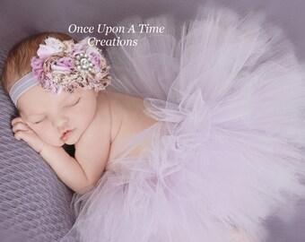Lavender Floral Rose Print Double Shabby Flower Headband - Photo Prop - Newborn Infant Baby Hairbow - Light Purple Child Girls Hair Bow
