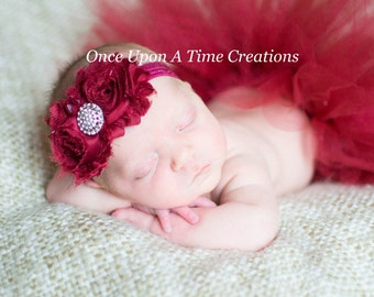 Maroon Shabby Flower Headband With Sparkling Rhinestone Center - Winter Shade Photo Prop - Newborn Baby Hairbow - Little Girls Hair Bow