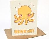 Octopus Hurrah -  Greeting card