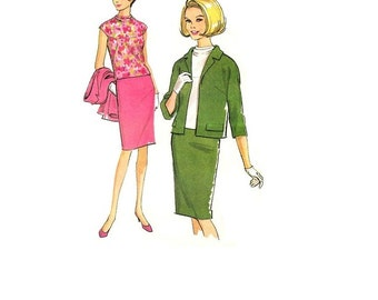 McCall's 8151 Sewing Pattern 60s Mad Men Style Retro Fashion Jacket Wiggle Skirt Blouse Shirt Secretary Business Casual Plus Size Bust 38