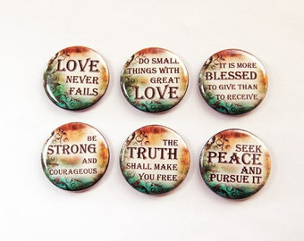 Inspirational Magnets, Button magnets, Kitchen Magnet, Fridge Magnet, Words of Wisdom, Blessed, Truth, Peace, Love, Stocking Stuffer (3281)