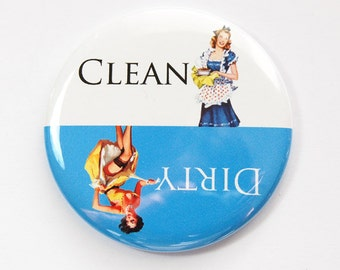Dishwasher magnet, Clean Dishes, Dirty Dishes, Pinup Girl, kitchen magnet, clean dishes magnet, Magnet, Blue, White, stocking stuffer (3587)