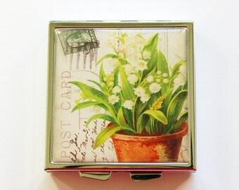Flower Pill case, Pill box, Flower pill box, Square Pill case, Pill case, 4 Sections, Square Pill box, Lily of the Valley (4028)