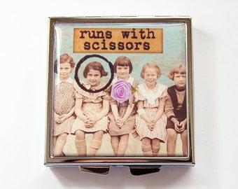 Funny pill box, Funny pill case, Pill Case, Pill Box, Runs with scissors, 4 Sections, Square Pill case, Square Pill box, humor (4223)