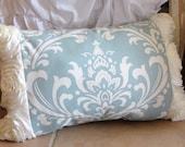 Blue and ivory damask and ivory rosette ruffle pillow