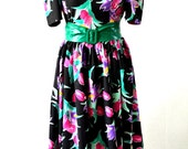 Vintage Black Pink Green Flowered 50s Dress