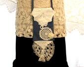 Small Handbag Recycled Denim Jeans Wallet Pouch Purse Bag Vintage Lace Crossbody Boho Hippie Gypsy