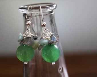 Green Aventurine, Aquamarine, Freshwater Pearl, and Labradorite Earrings