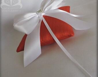 RUST- Silk and Satin Ring Pillow