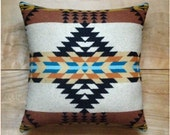 Wool Pillow - Native Geometric Tribal Southwest Western Brown