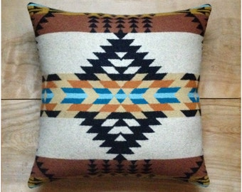 Wool Pillow - Native Geometric Tribal Southwest Western Brown