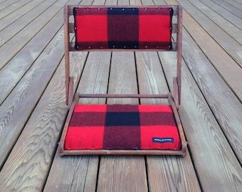 Vintage Oak Travel Chair - Wool Seat - Camp Buffalo Plaid Geometric