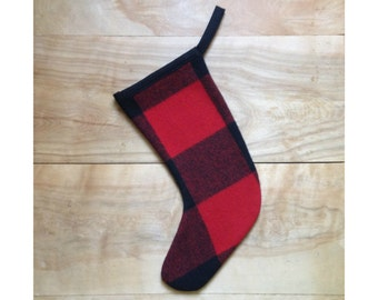 SALE - Wool Stocking - HGTV Christmas, Buffalo Plaid, Rustic