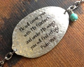 He will cover you with His feathers and under His wings you will find refuge, Psalm 91:4, Spoon Bracelet, Scripture Jewelry, Religious Gift